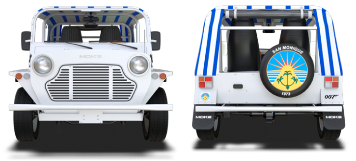 Front and back view of San Monique Bond Moke