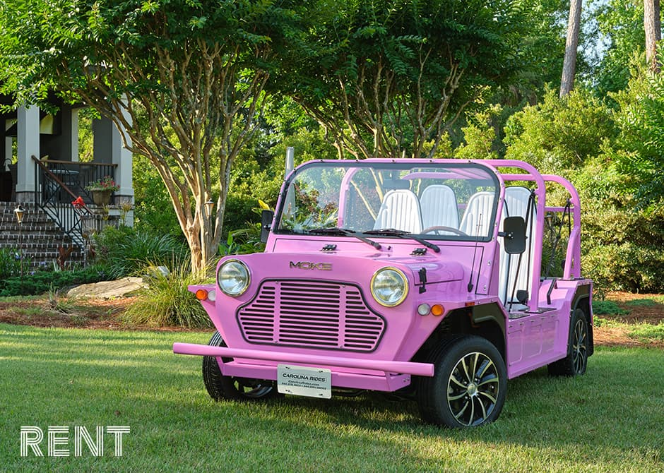pink Moke parked in the grass